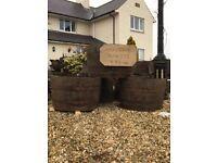 Solid oak half whisky barrel garden planters ideal for your summer