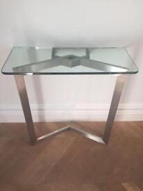 Metal and glass vintage console table
