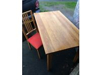 Oak table and 4 IKEA chairs