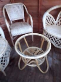 Conservatory furniture set cane wicker bamboo coffee table and chairs