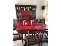Mahogany dining table two carver chairs and display cabinet