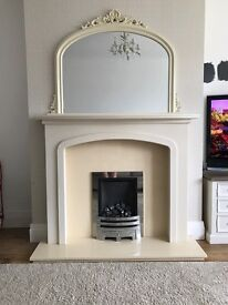 Gas fire with hearth and mantle piece comes with lights