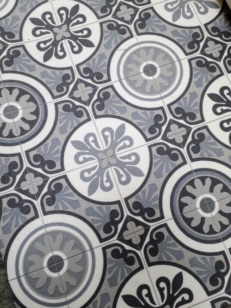 Victorian Style Cushioned Vinyl Flooring 2m X 2 65m In