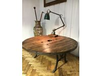 Bespoke industrial wooden coffee table with wrought iron legs