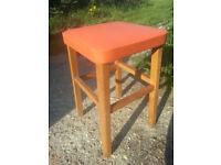 Retro beech and vinyl stool.