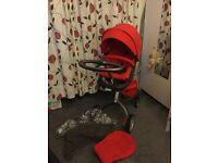 Stokke Xplory Pushchair - Red + NEW Stokke® MyCarrier 3-in-1 Baby Carrier - Black