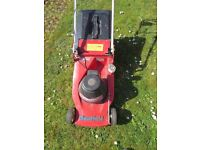 Mountfield electric lawn mower - old and a bit battered but working well.