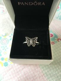 Genuine Pandora Silver Vintage Butterfly Ring Size 52