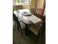 Mahogany dining table & 6 Chairs