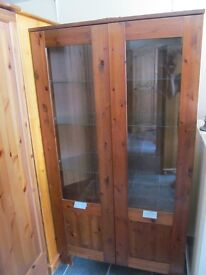 LOVELY PINE AND GLASS DISPLAY CABINET VGC CAN BE USED AS CORNER CUPBOARD ,