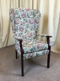High Wing Back Easy Chair Floral Fireside Armchair - See Delivery