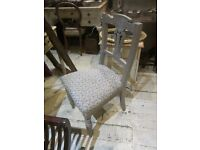 DINING CHAIRS PAINTED FRENCH GREY SHABBY CHIC GREY BLUE FABRIC SEATING X 6