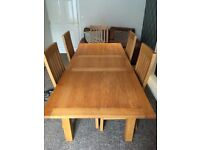 Next Solid Oak Extending Dining Table and Chairs