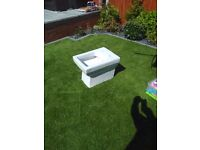 White square shaped toilet for use with bathroom furniture and concealed cistern