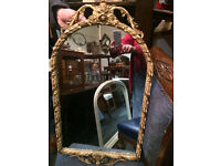 Striking Antique French Style Rococo Ornate Arched Top Wall Mirror Quality Gilt Frame