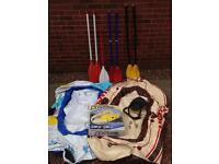 3x Rubber dinghys, oars and foot pump