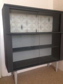 Retro 1950's China Cabinet. Atomic design, modernised, upcycled