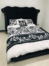 Luxury velvet double bed frame with winged back headboard ***pristine condition***