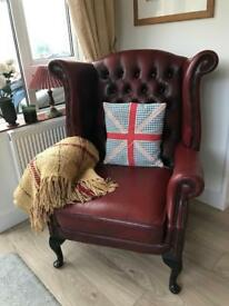 Queen Anne oxblood Chesterfield armchair. Can deliver