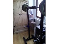 110kg weights, bar & squat stand.