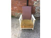 Vintage art deco 1930s wooden recliner armchair - ideal for retro restoration project
