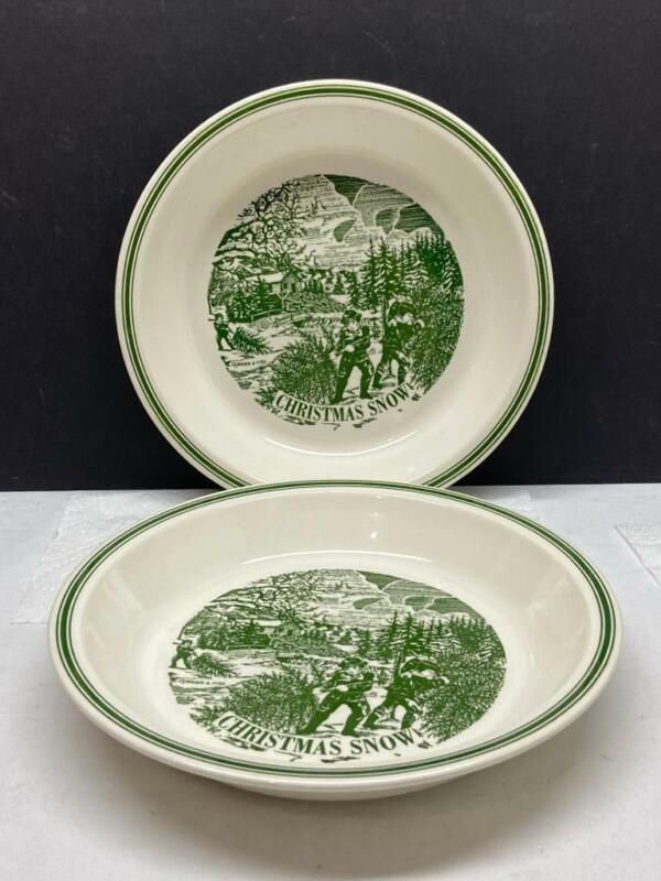 """2 Vintage Currier & Ives Christmas Snow 10"""" Holiday Pie Plates Green and White"""
