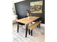 ARTEMIS Handmade Tapered Black Steel Leg Dining Table Bench and Chairs Industrial - Dolce