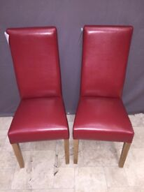 2x Curved Back Red Leather Dining Room Kitchen Chairs