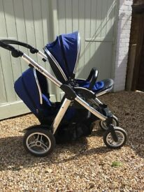 Oyster Max Tandem/Twin Pram Royal Blue on Silver Chassis Immaculate condition