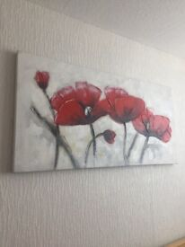 Poppy Painting Canvas Picture Home Decor £10