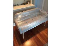 Brand new, small 2 seater sofa grey herringbone fabric - £100