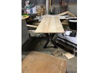 X steal leg table & X steal leg bench, with reclaimed French hardwood. INDUSTRIAL STYLE