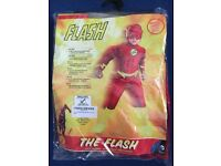 """""""The Flash"""" muscle suit with mask and belt - age 3-4 years - brand new in original packaging - £10"""