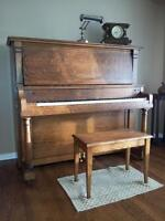 """Cable Company """"Kingsbury"""" upright oak piano for sale"""