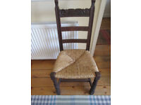 oak and rush seat chair