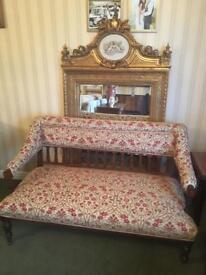 Antique 2 and 1 seater salon chairs
