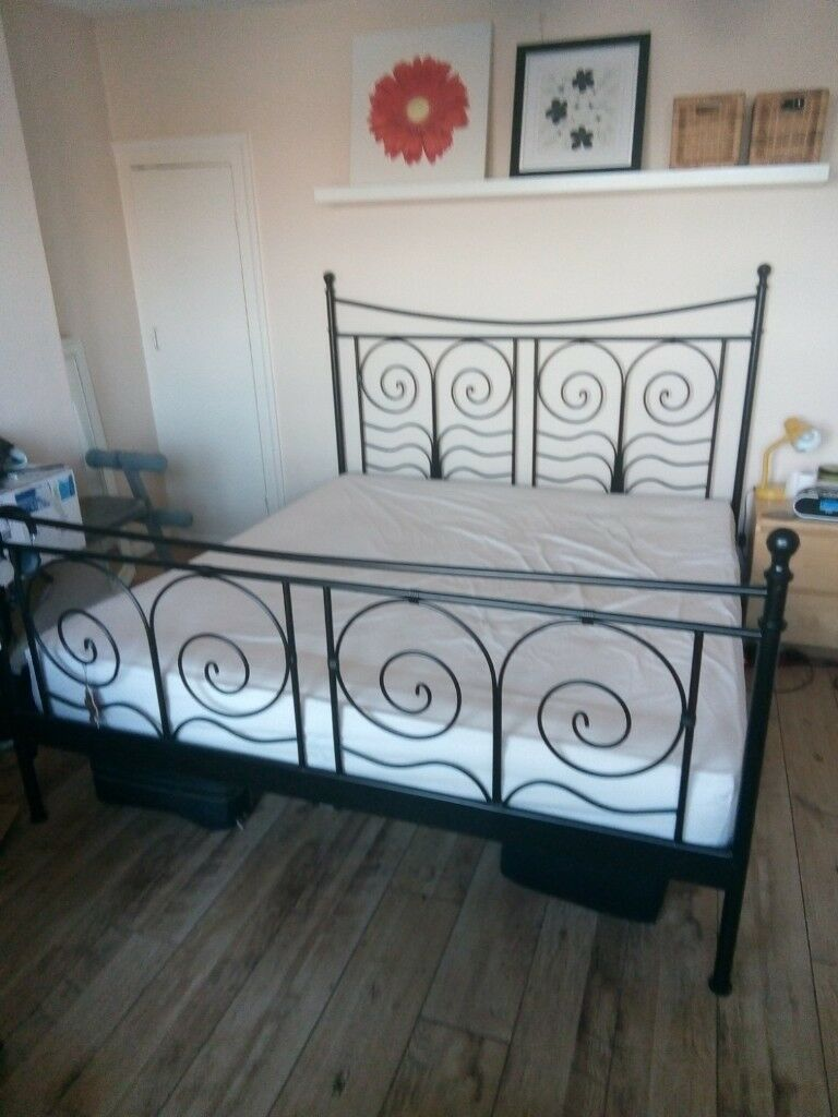Ikea Super King Size Black Metal Bed Frame Excellent Condition In