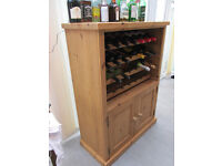 Pine Wine Rack with Base Cupboard