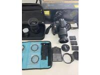Like brand new- 5200 Nikon Camera DSLR 2 lenses and accessories