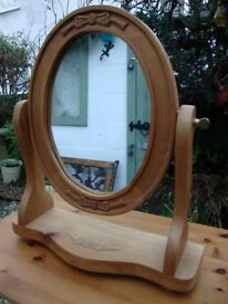 Rustic,Carved Pine,Oval,Dressing Table Mirror.