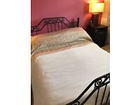 Double bed Black metal frame and mattress
