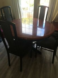 REDUCED FOR QUICK SALE Italian connection dining table & 4 chairs with matching coffee/lamp table