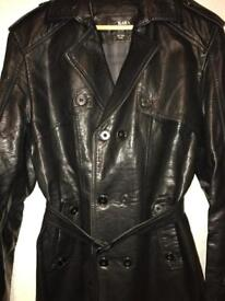 Mens Double Breasted Genuine Leather Jacket with Belt in Black Smart Casual Wear Overcoat