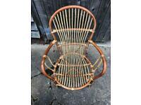 Vintage Mid Century Bamboo Boho Tiki Armchair