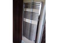Chrome towel rail radiator 1200 x 600