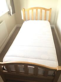 Solid Light Oak Single Bed with Mattress