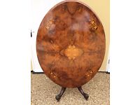 Victorian Walnut Inlaid Loo Table - Dining, Cards, Breakfast