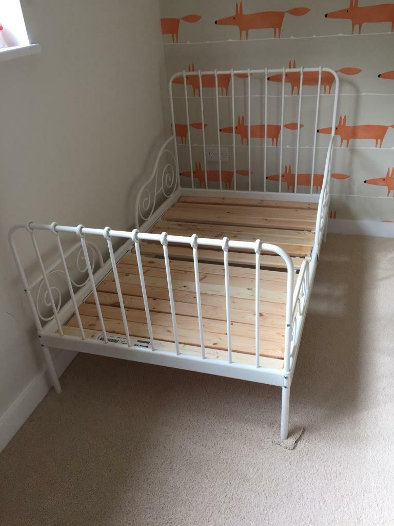 Ikea White Metal Toddler Bed Extendable