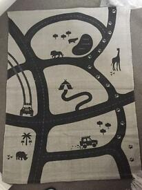 Boys car track light grey rug