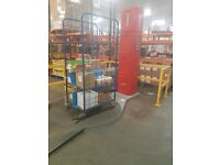 pallet wrap machine with fixing to wrap roll containers